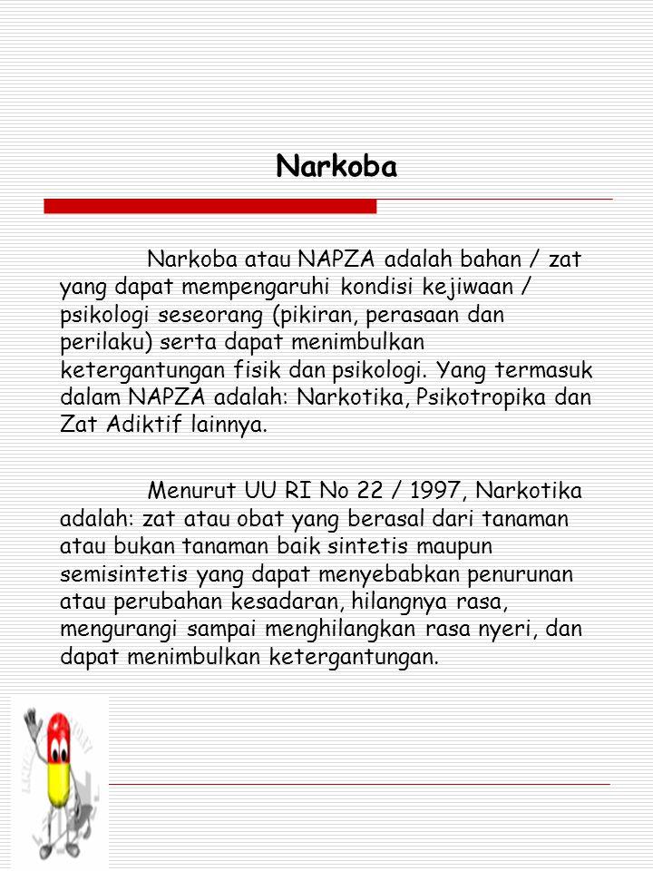 Narkoba Narkoba atau NAPZA adalah bahan / zat yang dapat mempengaruhi kondisi kejiwaan / psikologi seseorang (pikiran, perasaan dan perilaku) serta dapat menimbulkan ketergantungan fisik dan psikologi.