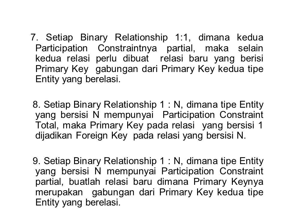 7. Setiap Binary Relationship 1:1, dimana kedua Participation Constraintnya partial, maka selain kedua relasi perlu dibuat relasi baru yang berisi Pri
