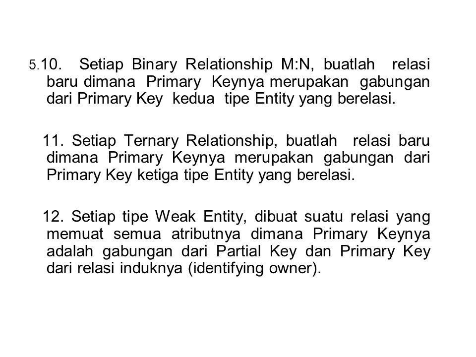 5. 10. Setiap Binary Relationship M:N, buatlah relasi baru dimana Primary Keynya merupakan gabungan dari Primary Key kedua tipe Entity yang berelasi.