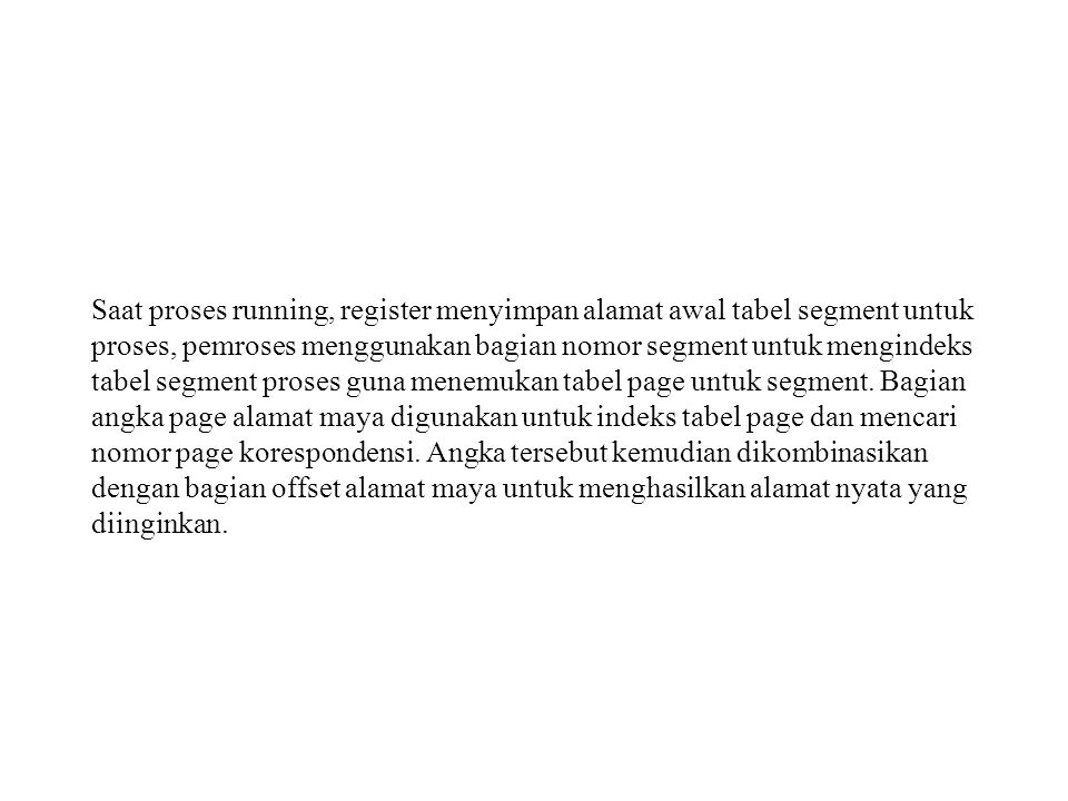 Saat proses running, register menyimpan alamat awal tabel segment untuk proses, pemroses menggunakan bagian nomor segment untuk mengindeks tabel segme