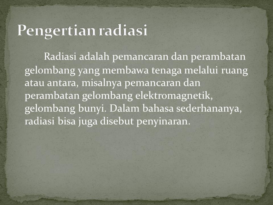 Radiasi adalah pemancaran dan perambatan gelombang yang membawa tenaga melalui ruang atau antara, misalnya pemancaran dan perambatan gelombang elektro