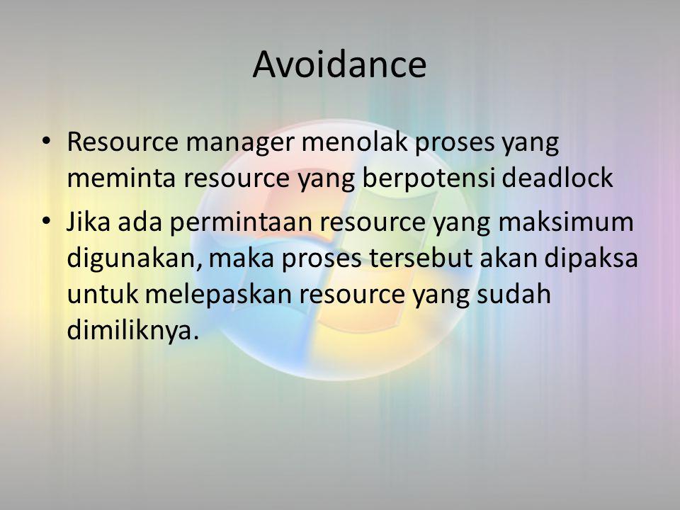 Avoidance Resource manager menolak proses yang meminta resource yang berpotensi deadlock Jika ada permintaan resource yang maksimum digunakan, maka pr