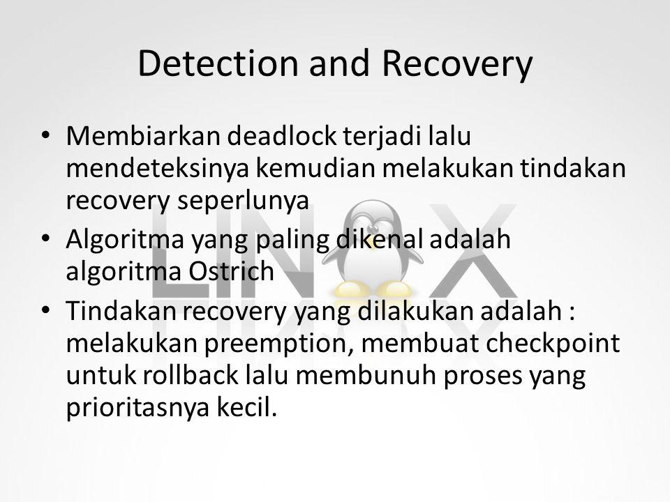 Detection and Recovery Membiarkan deadlock terjadi lalu mendeteksinya kemudian melakukan tindakan recovery seperlunya Algoritma yang paling dikenal ad