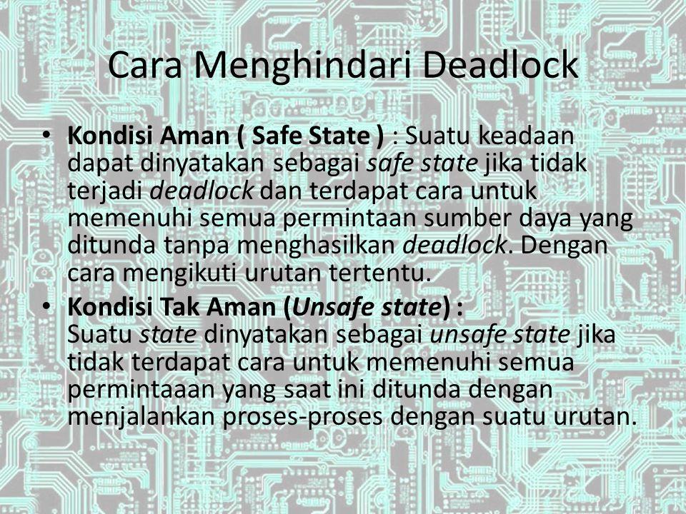 Cara Menghindari Deadlock Kondisi Aman ( Safe State ) : Suatu keadaan dapat dinyatakan sebagai safe state jika tidak terjadi deadlock dan terdapat car