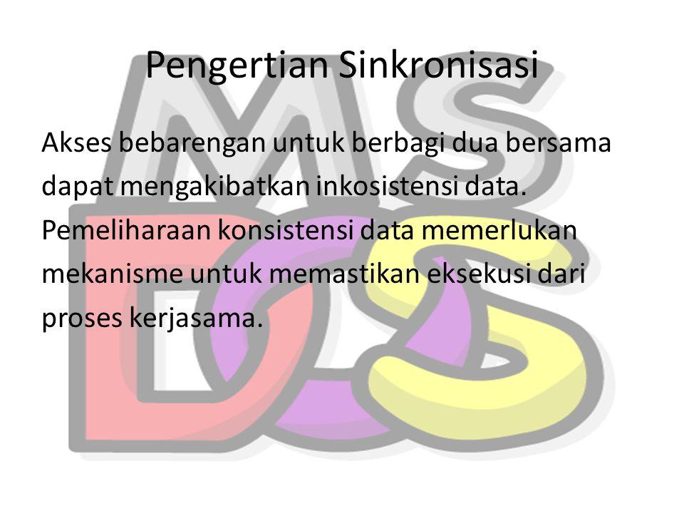 Pengertian Sinkronisasi Akses bebarengan untuk berbagi dua bersama dapat mengakibatkan inkosistensi data. Pemeliharaan konsistensi data memerlukan mek