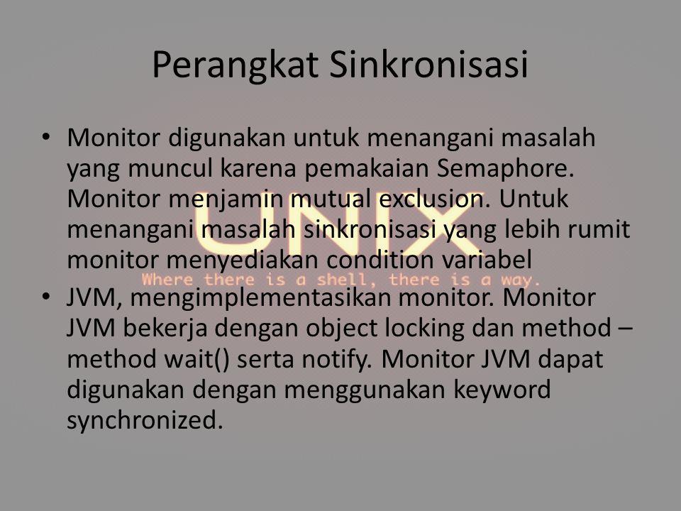 Perangkat Sinkronisasi Monitor digunakan untuk menangani masalah yang muncul karena pemakaian Semaphore. Monitor menjamin mutual exclusion. Untuk mena