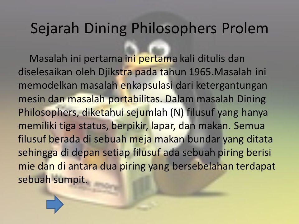 Sejarah Dining Philosophers Prolem Masalah ini pertama ini pertama kali ditulis dan diselesaikan oleh Djikstra pada tahun 1965.Masalah ini memodelkan