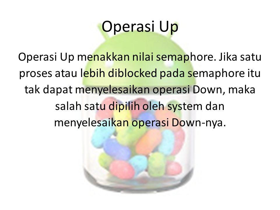 Operasi Up Operasi Up menakkan nilai semaphore. Jika satu proses atau lebih diblocked pada semaphore itu tak dapat menyelesaikan operasi Down, maka sa