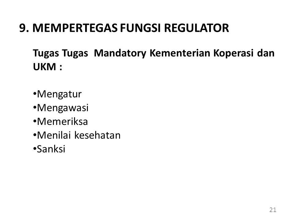 Tugas Tugas Mandatory Kementerian Koperasi dan UKM : Mengatur Mengawasi Memeriksa Menilai kesehatan Sanksi 9. MEMPERTEGAS FUNGSI REGULATOR 21