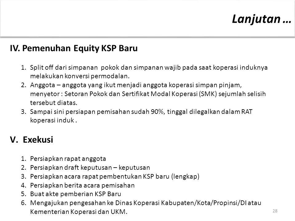 28 IV. Pemenuhan Equity KSP Baru 1. Split off dari simpanan pokok dan simpanan wajib pada saat koperasi induknya melakukan konversi permodalan. 2.Angg