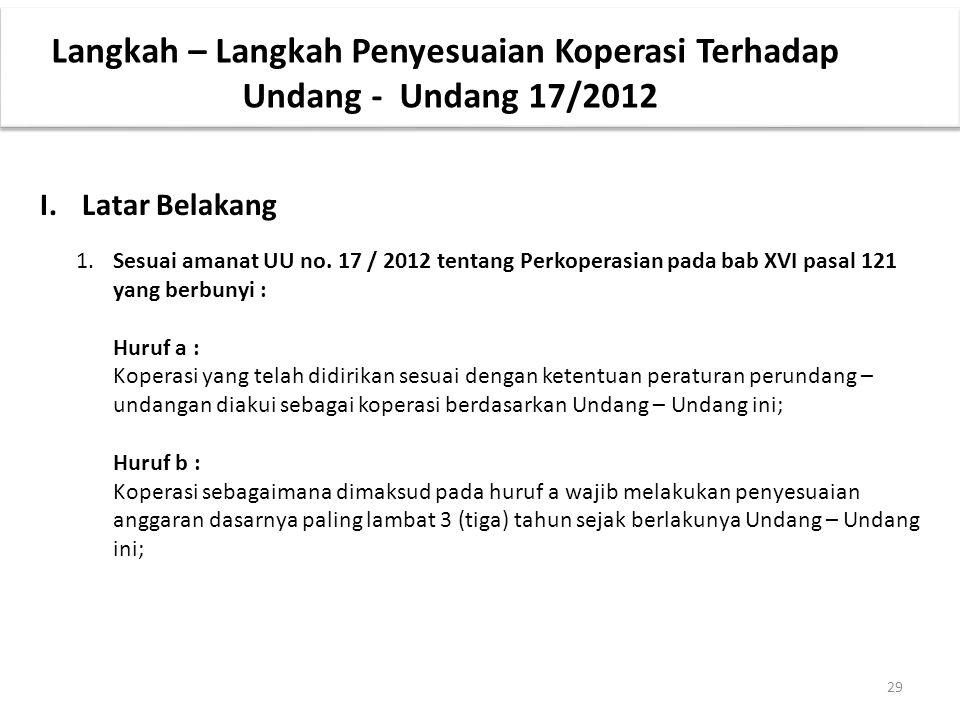 29 Langkah – Langkah Penyesuaian Koperasi Terhadap Undang - Undang 17/2012 I.Latar Belakang 1.Sesuai amanat UU no. 17 / 2012 tentang Perkoperasian pad