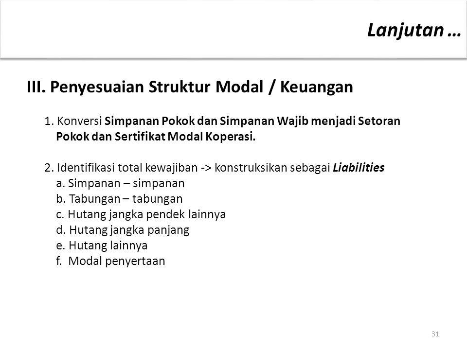 31 III. Penyesuaian Struktur Modal / Keuangan 1. Konversi Simpanan Pokok dan Simpanan Wajib menjadi Setoran Pokok dan Sertifikat Modal Koperasi. 2. Id
