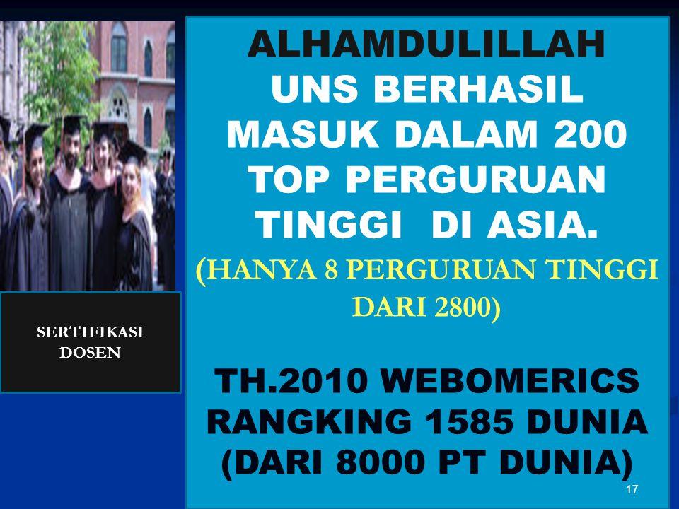 ALHAMDULILLAH UNS BERHASIL MASUK DALAM 200 TOP PERGURUAN TINGGI DI ASIA. ( HANYA 8 PERGURUAN TINGGI DARI 2800) TH.2010 WEBOMERICS RANGKING 1585 DUNIA