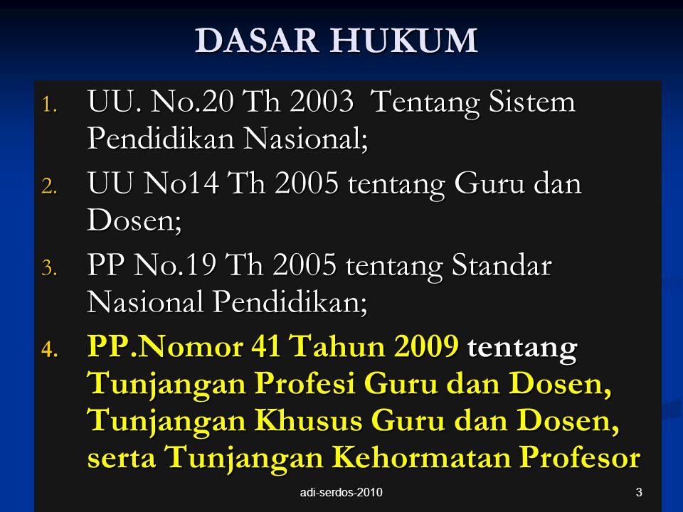 DASAR HUKUM 1. UU. No.20 Th 2003 Tentang Sistem Pendidikan Nasional; 2. UU No14 Th 2005 tentang Guru dan Dosen; 3. PP No.19 Th 2005 tentang Standar Na