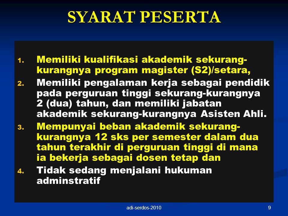 SYARAT PESERTA 1. Memiliki kualifikasi akademik sekurang- kurangnya program magister (S2)/setara, 2. Memiliki pengalaman kerja sebagai pendidik pada p