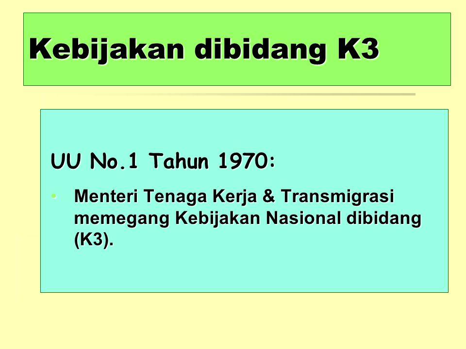 Kebijakan dibidang K3 UU No.1 Tahun 1970: Menteri Tenaga Kerja & Transmigrasi memegang Kebijakan Nasional dibidang (K3).Menteri Tenaga Kerja & Transmi