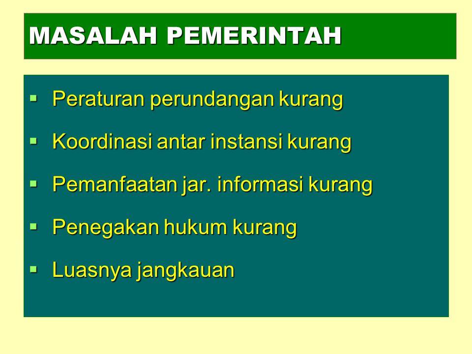 MASALAH PEMERINTAH  Peraturan perundangan kurang  Koordinasi antar instansi kurang  Pemanfaatan jar. informasi kurang  Penegakan hukum kurang  Lu