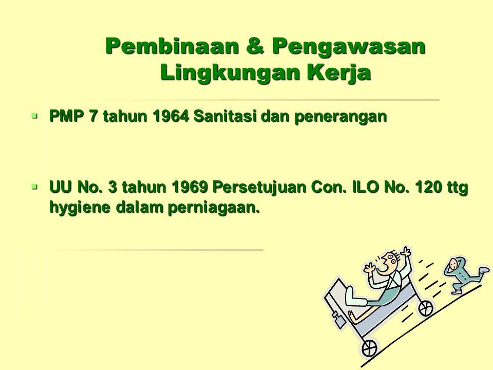 Pembinaan & Pengawasan Lingkungan Kerja  PMP 7 tahun 1964 Sanitasi dan penerangan  UU No. 3 tahun 1969 Persetujuan Con. ILO No. 120 ttg hygiene dala