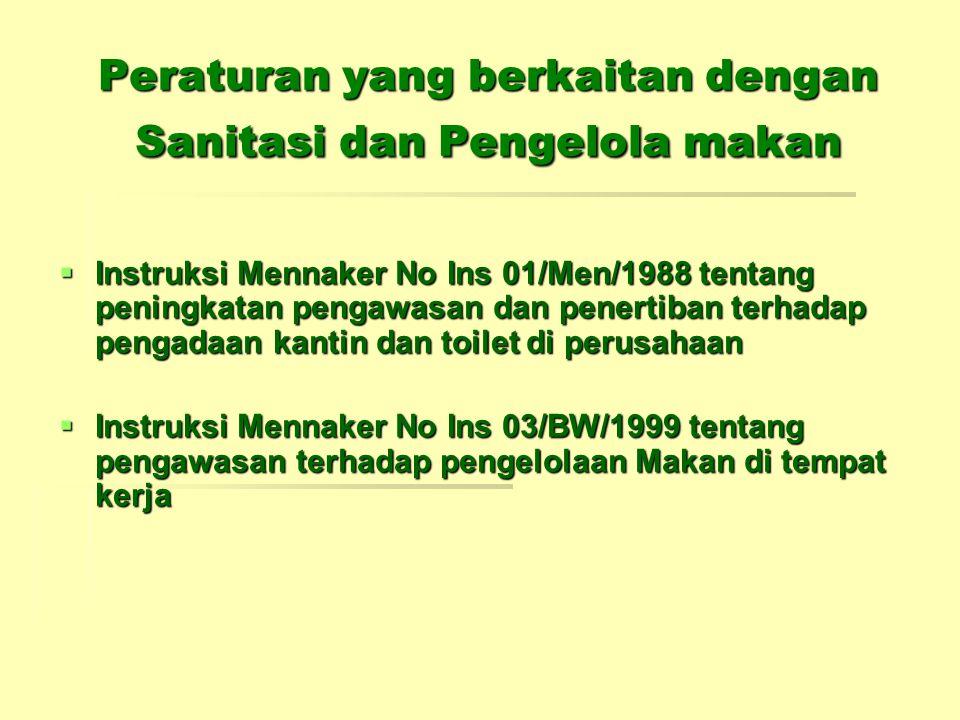 Peraturan yang berkaitan dengan Sanitasi dan Pengelola makan  Instruksi Mennaker No Ins 01/Men/1988 tentang peningkatan pengawasan dan penertiban ter