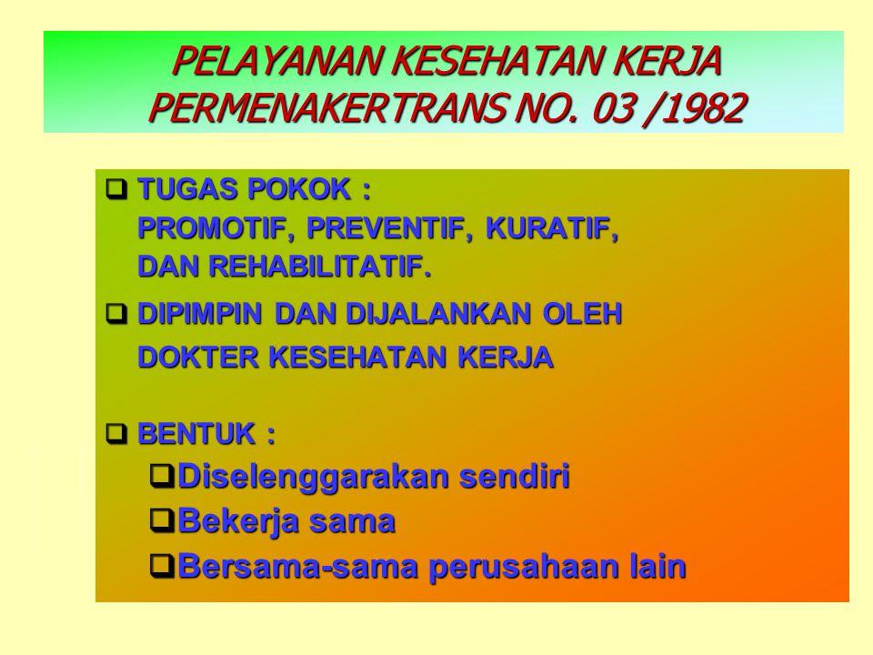 PELAYANAN KESEHATAN KERJA PERMENAKERTRANS NO. 03 /1982  TUGAS POKOK : PROMOTIF, PREVENTIF, KURATIF, PROMOTIF, PREVENTIF, KURATIF, DAN REHABILITATIF.