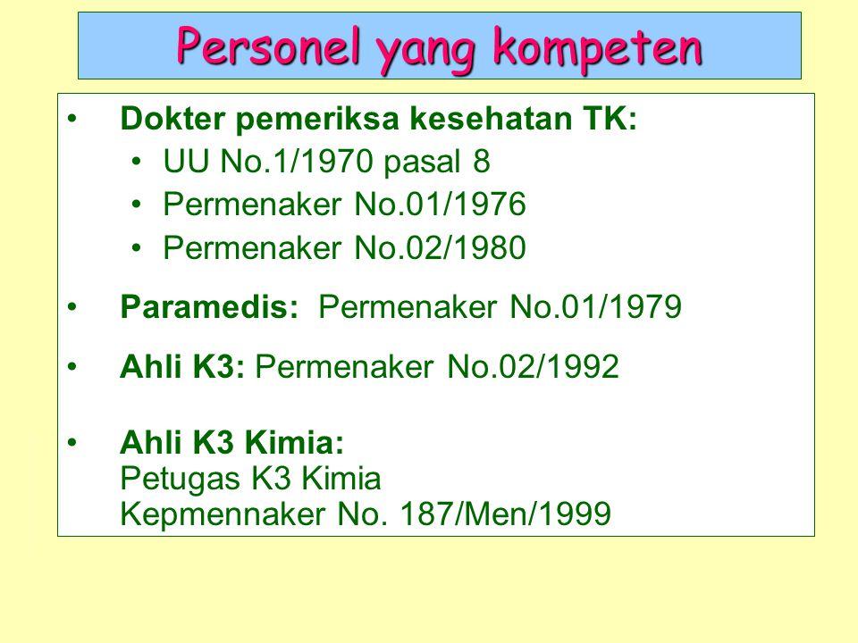Personel yang kompeten Dokter pemeriksa kesehatan TK: UU No.1/1970 pasal 8 Permenaker No.01/1976 Permenaker No.02/1980 Paramedis: Permenaker No.01/197