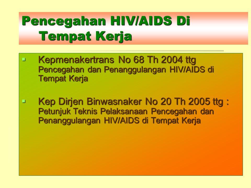 Pencegahan HIV/AIDS Di Tempat Kerja  Kepmenakertrans No 68 Th 2004 ttg Pencegahan dan Penanggulangan HIV/AIDS di Tempat Kerja  Kep Dirjen Binwasnake