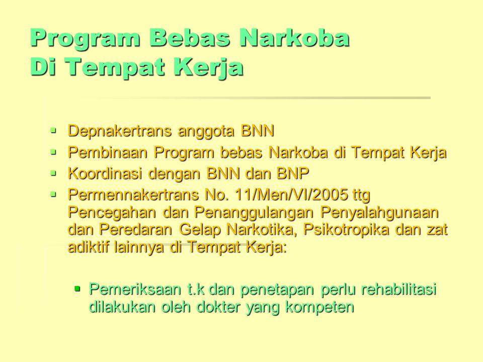 Program Bebas Narkoba Di Tempat Kerja  Depnakertrans anggota BNN  Pembinaan Program bebas Narkoba di Tempat Kerja  Koordinasi dengan BNN dan BNP 