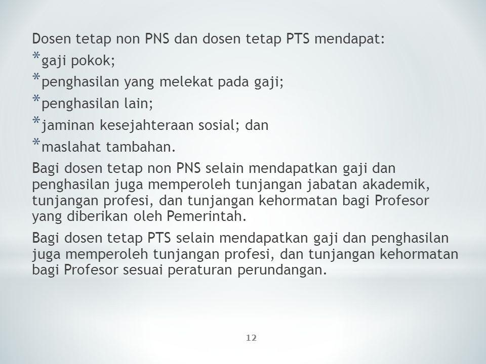 12 Dosen tetap non PNS dan dosen tetap PTS mendapat: * gaji pokok; * penghasilan yang melekat pada gaji; * penghasilan lain; * jaminan kesejahteraan s