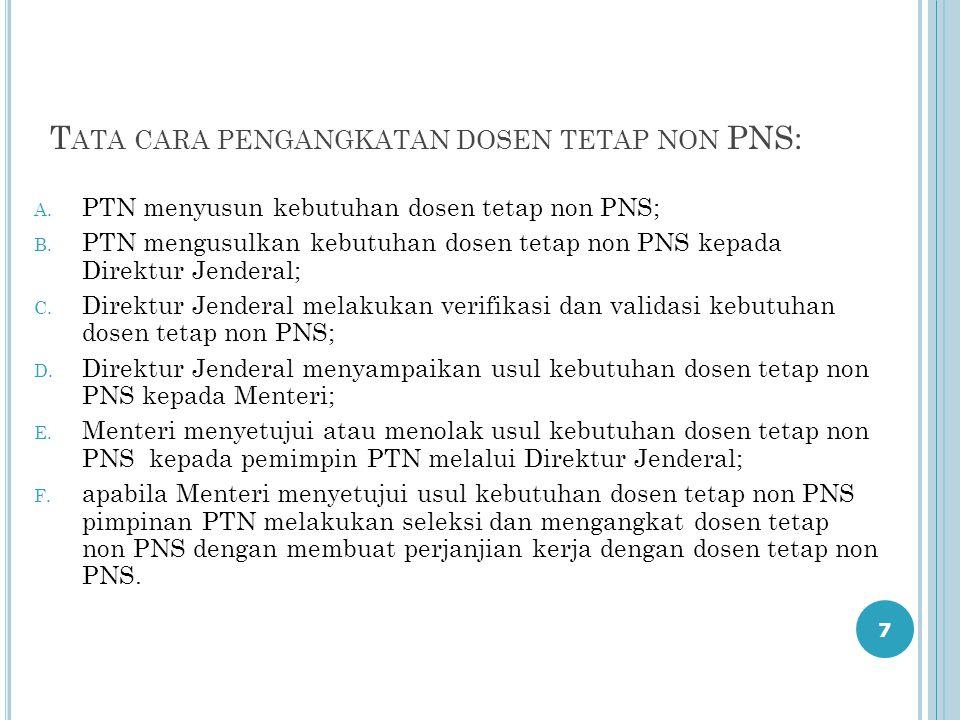 7 T ATA CARA PENGANGKATAN DOSEN TETAP NON PNS: A. PTN menyusun kebutuhan dosen tetap non PNS; B. PTN mengusulkan kebutuhan dosen tetap non PNS kepada
