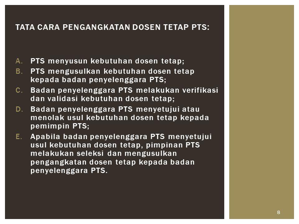 A.PTS menyusun kebutuhan dosen tetap; B.PTS mengusulkan kebutuhan dosen tetap kepada badan penyelenggara PTS; C.Badan penyelenggara PTS melakukan veri