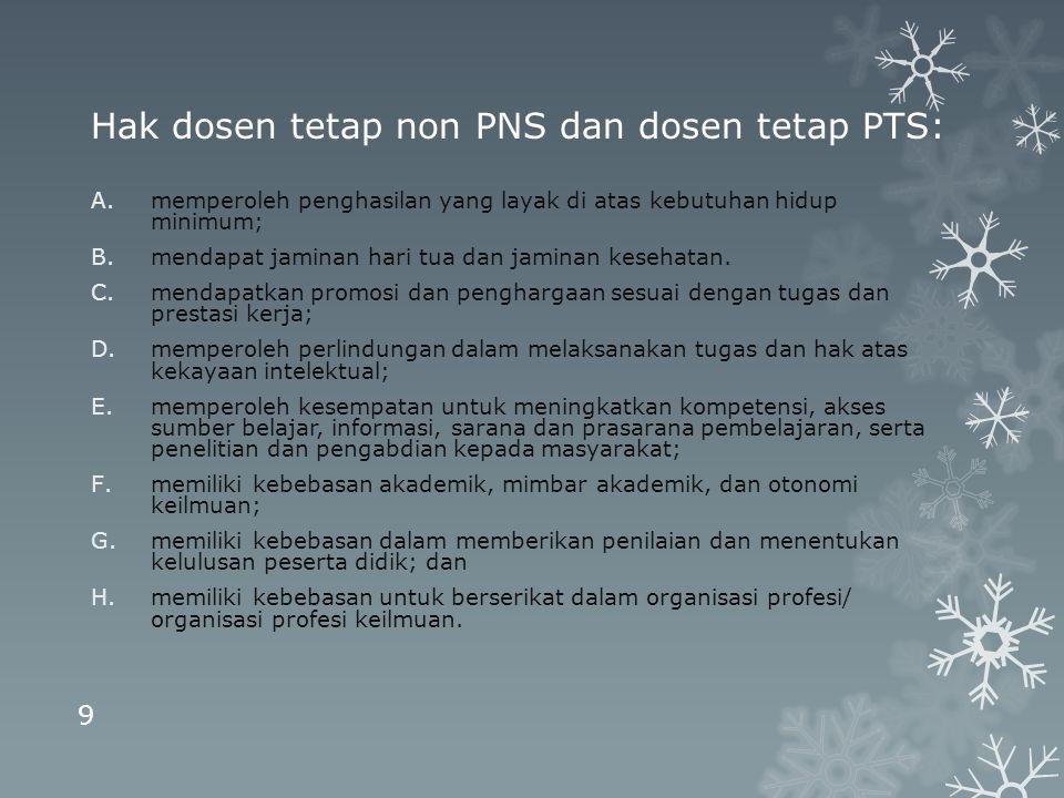Hak dosen tetap non PNS dan dosen tetap PTS: A.memperoleh penghasilan yang layak di atas kebutuhan hidup minimum; B.mendapat jaminan hari tua dan jami