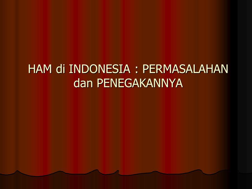 Sejalan dengan amanat konstitusi, Indonesia berpandangan bahwa perlindungan HAM harus didasarkan pada prinsipbahwa hak-hak sipil,politik,ekonomi,sosial budaya,dan hak pembangunan merupakan satu kesatuan yang tidak dapat dipisahkan baik dalam penerapan,pemantauan,maupundalam pelaksanaanya(Wirayuda,2005)