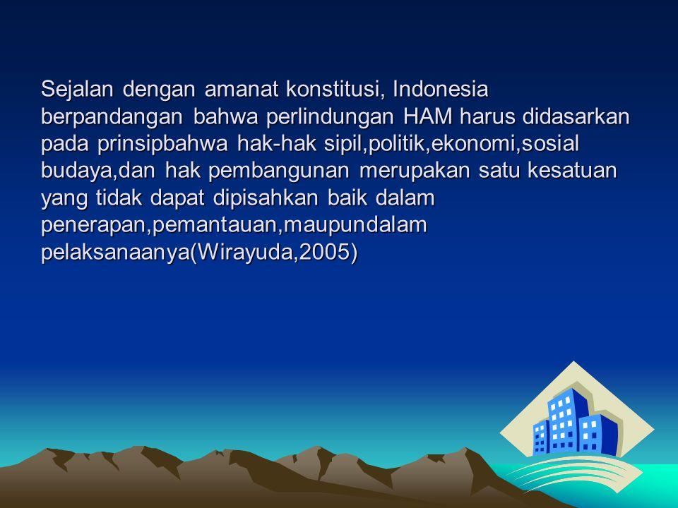 HAM di Indonesia didasarkan pada konstitusi NKRI, yaitu: a.pembukaan UUD 1945 (alenia 1), b.pancasila sila keempat, c.Batang tubuh UUD 1945 (Pasal 27,29 dan 30), d.UU Nomor 39/1999 tentang HAM e.UU Nomor26/2000 tentang Pengadilan HAM.