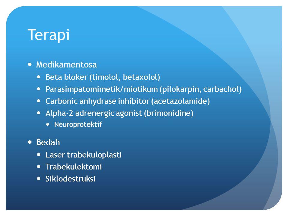 Terapi Medikamentosa Beta bloker (timolol, betaxolol) Parasimpatomimetik/miotikum (pilokarpin, carbachol) Carbonic anhydrase inhibitor (acetazolamide)