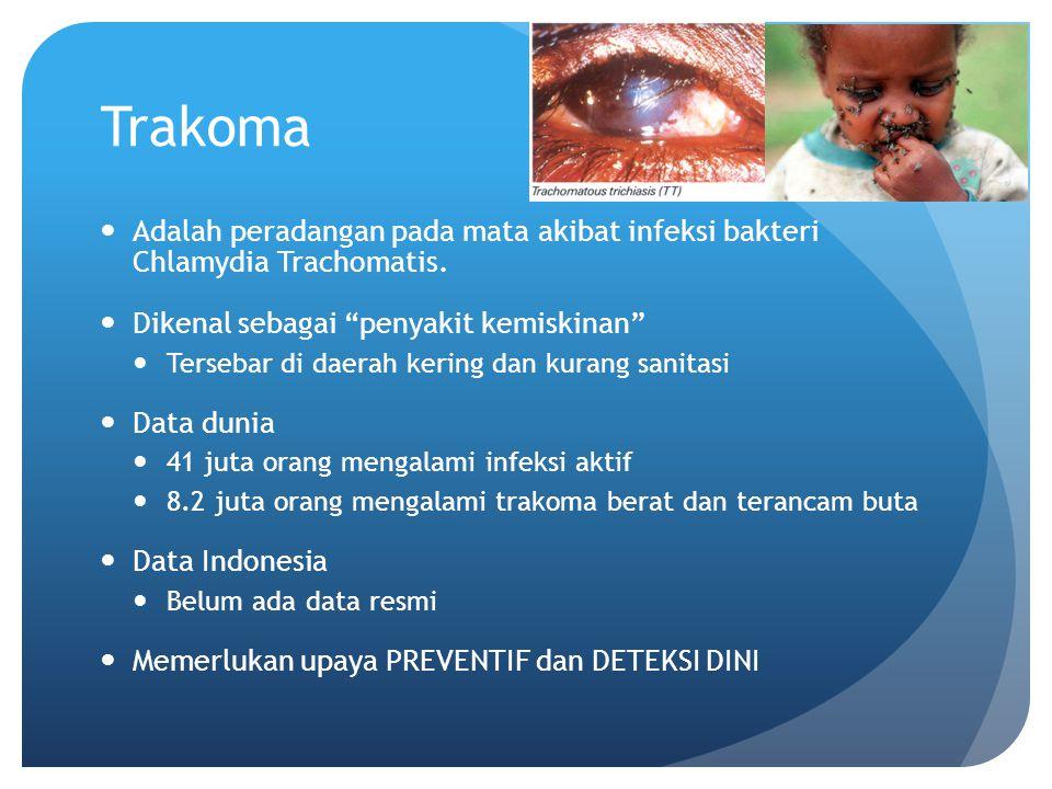 "Trakoma Adalah peradangan pada mata akibat infeksi bakteri Chlamydia Trachomatis. Dikenal sebagai ""penyakit kemiskinan"" Tersebar di daerah kering dan"