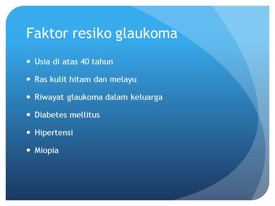Faktor resiko glaukoma Usia di atas 40 tahun Ras kulit hitam dan melayu Riwayat glaukoma dalam keluarga Diabetes mellitus Hipertensi Miopia