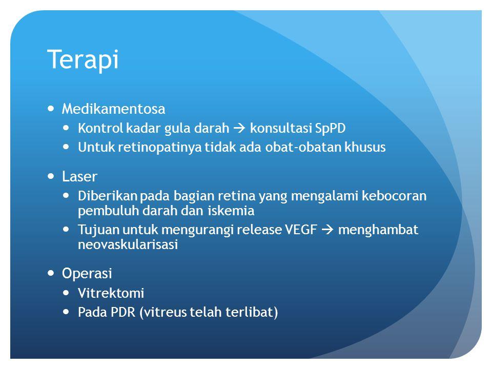 Terapi Medikamentosa Kontrol kadar gula darah  konsultasi SpPD Untuk retinopatinya tidak ada obat-obatan khusus Laser Diberikan pada bagian retina ya