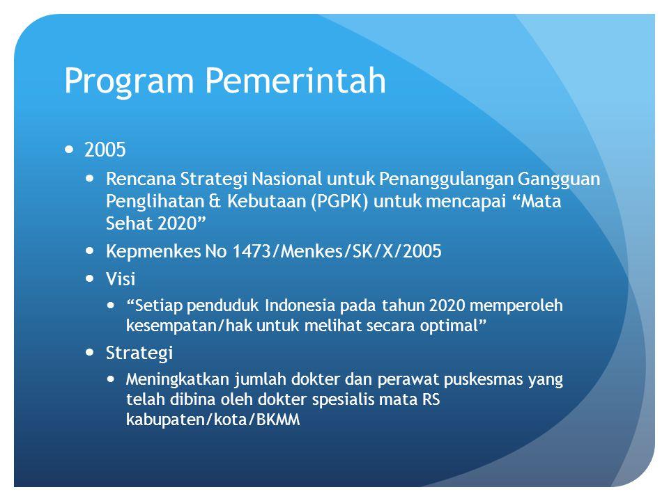 """Program Pemerintah 2005 Rencana Strategi Nasional untuk Penanggulangan Gangguan Penglihatan & Kebutaan (PGPK) untuk mencapai """"Mata Sehat 2020"""" Kepmenk"""