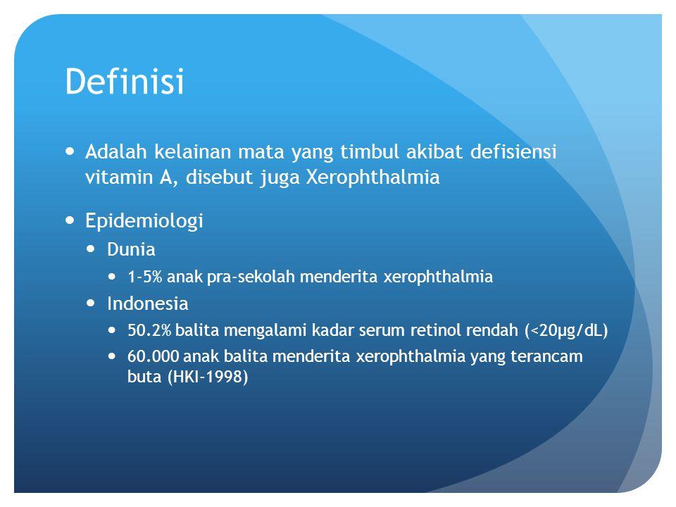 Definisi Adalah kelainan mata yang timbul akibat defisiensi vitamin A, disebut juga Xerophthalmia Epidemiologi Dunia 1-5% anak pra-sekolah menderita x