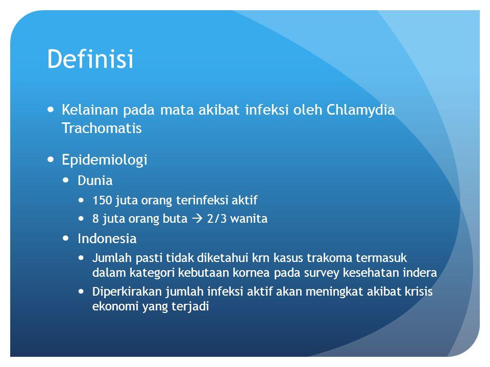 Definisi Kelainan pada mata akibat infeksi oleh Chlamydia Trachomatis Epidemiologi Dunia 150 juta orang terinfeksi aktif 8 juta orang buta  2/3 wanit