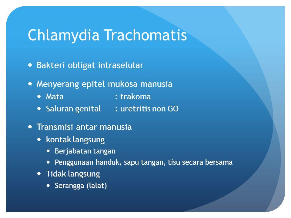 Chlamydia Trachomatis Bakteri obligat intraselular Menyerang epitel mukosa manusia Mata : trakoma Saluran genital: uretritis non GO Transmisi antar ma