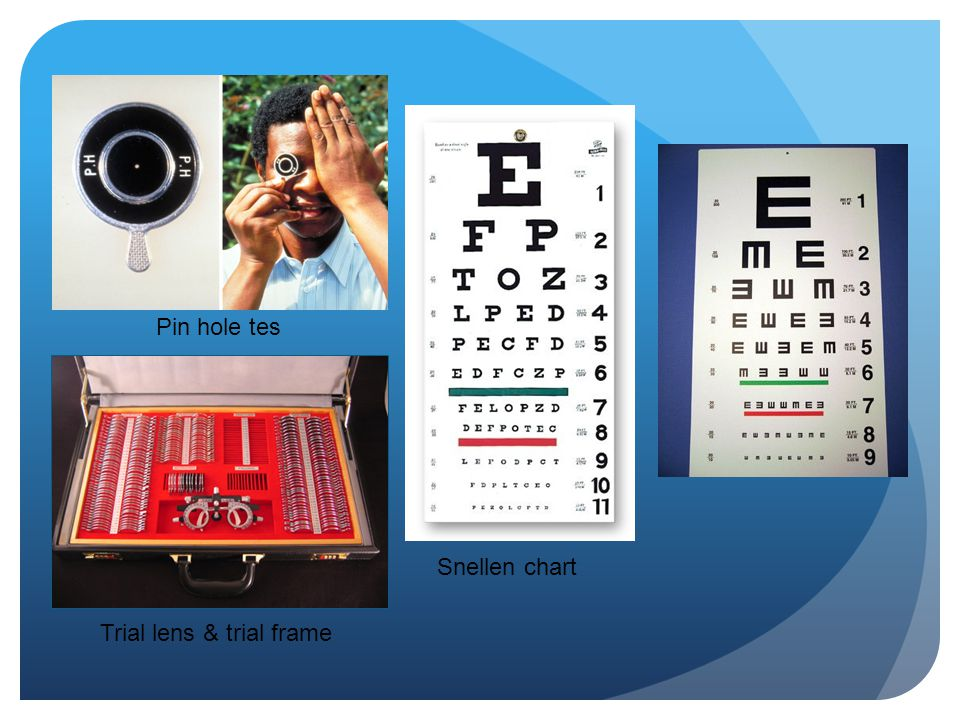 Snellen chart Trial lens & trial frame Pin hole tes