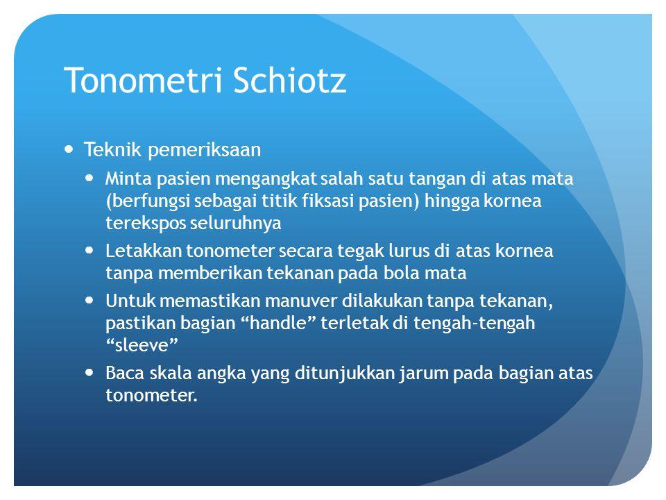 Tonometri Schiotz Teknik pemeriksaan Minta pasien mengangkat salah satu tangan di atas mata (berfungsi sebagai titik fiksasi pasien) hingga kornea ter