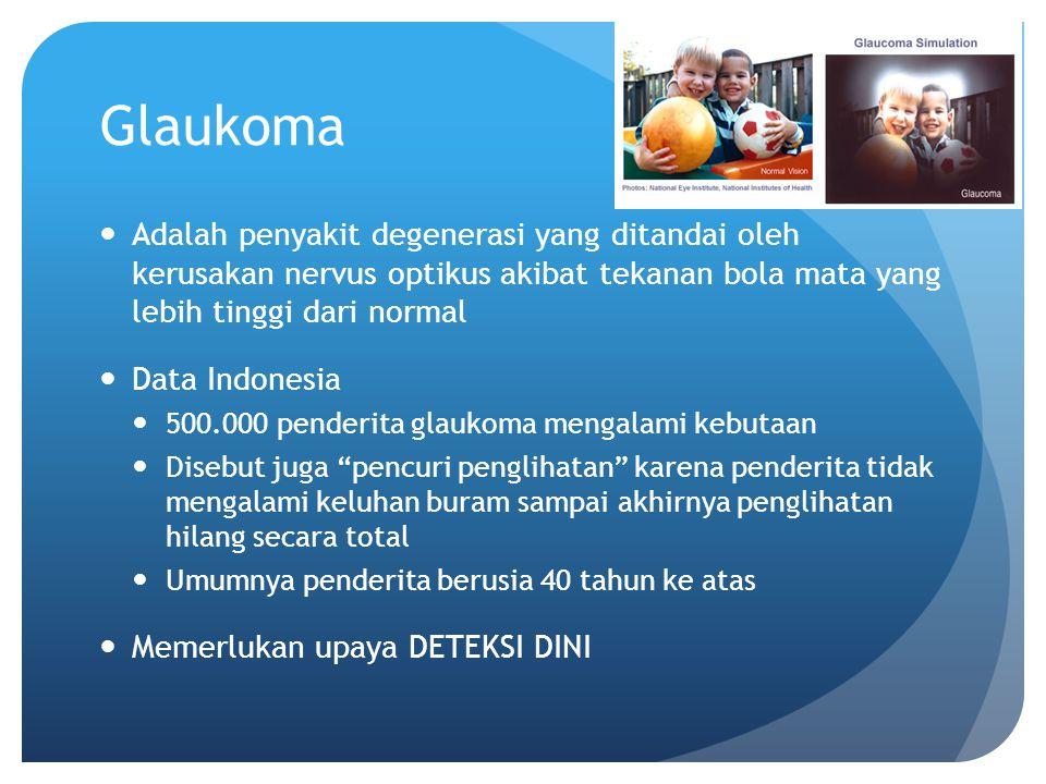 Glaukoma Adalah penyakit degenerasi yang ditandai oleh kerusakan nervus optikus akibat tekanan bola mata yang lebih tinggi dari normal Data Indonesia