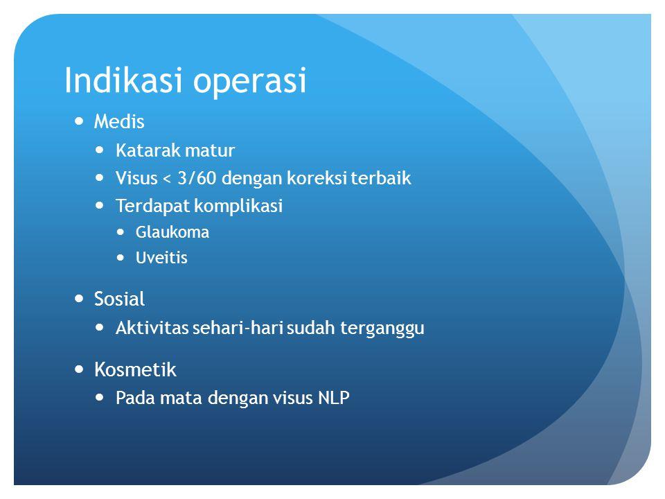 Indikasi operasi Medis Katarak matur Visus < 3/60 dengan koreksi terbaik Terdapat komplikasi Glaukoma Uveitis Sosial Aktivitas sehari-hari sudah terga