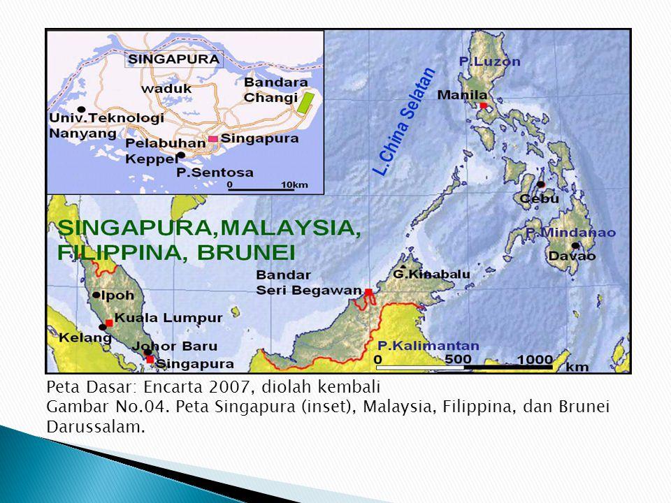  PERBANDINGAN DENGAN NEGARA TETANGGA, SINGAPURA, MALAYSIA, PHILIPINA, DAN BRUNAI Singapura merupakan negara kota. Wilayahnya terdiri dari 63 pulau ke