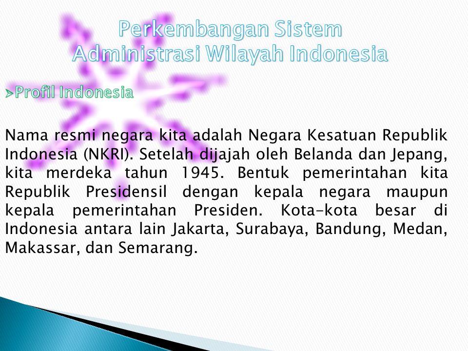 SISTEM ADMINISTRASI WILAYAH INDONESIA PROFIL INDONESIA WILAYAH LAUT WILAYAH DARAT LAUT NUSANTARA ANTAR PULAU LAUT TERITORIAL 12 MIL / 22 KM ZEE 200 MI