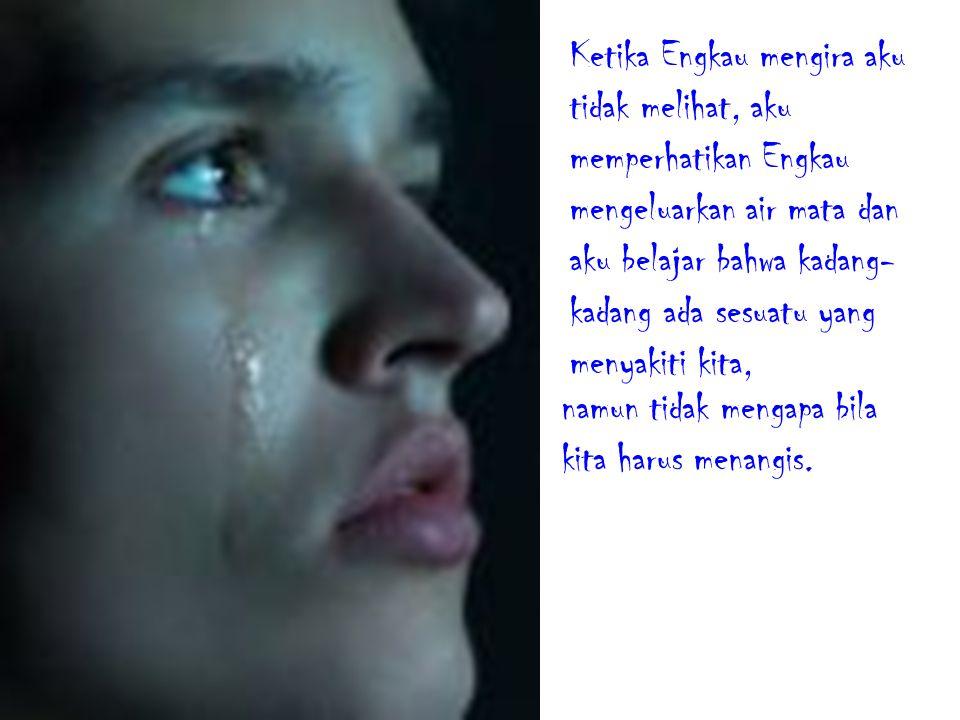 Ketika Engkau mengira aku tidak melihat, aku memperhatikan Engkau mengeluarkan air mata dan aku belajar bahwa kadang- kadang ada sesuatu yang menyakiti kita, namun tidak mengapa bila kita harus menangis.