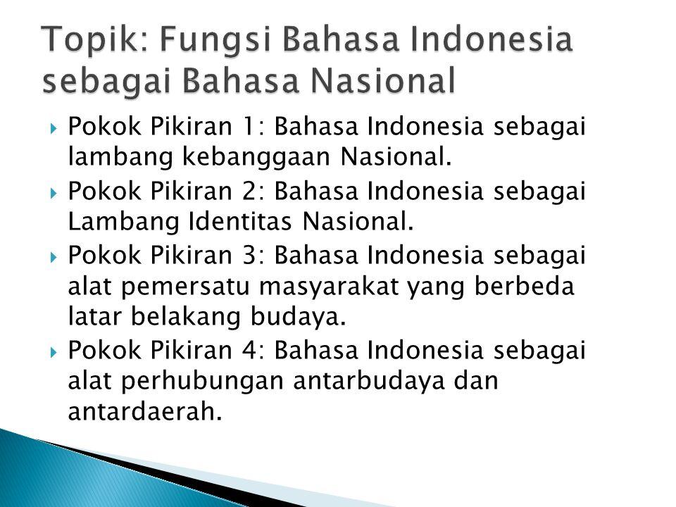  Pokok Pikiran 1: Bahasa Indonesia sebagai lambang kebanggaan Nasional.  Pokok Pikiran 2: Bahasa Indonesia sebagai Lambang Identitas Nasional.  Pok