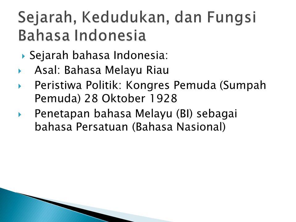  Sejarah bahasa Indonesia:  Asal: Bahasa Melayu Riau  Peristiwa Politik: Kongres Pemuda (Sumpah Pemuda) 28 Oktober 1928  Penetapan bahasa Melayu (